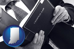 indiana map icon and an attorney reading a criminal law book