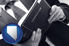 nv map icon and an attorney reading a criminal law book