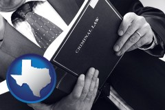 tx map icon and an attorney reading a criminal law book